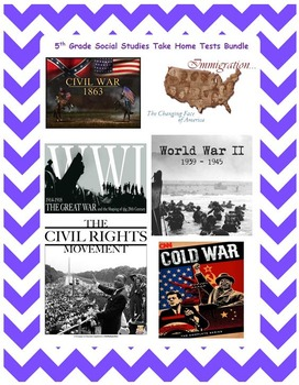 5th Grade Social Studies Take Home Tests Bundle  **EDITABLE**