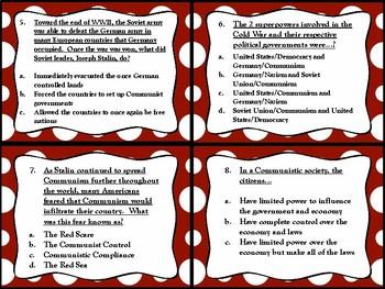 The Cold War Task Cards (GMAS:  SS5H5)