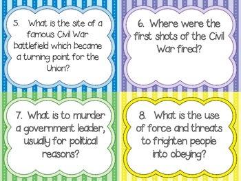 5th Grade Social Studies Test Prep Review Question Cards CC, Georgia Milestones