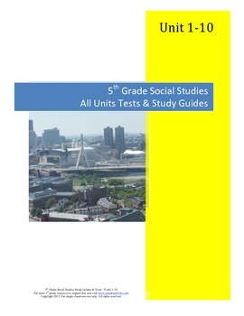 5th Grade Social Studies Tests & Study Guides--All Units