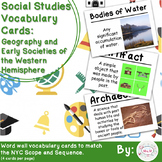 5th Grade Social Studies Vocab Cards: Geography & Societies of the W Hemisphere