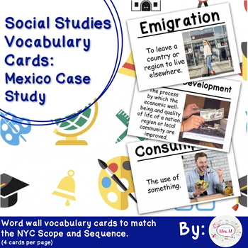 5th Grade Social Studies Vocab Cards: Mexico Case Study