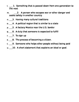 5th Grade Social Studies Vocabulary Test