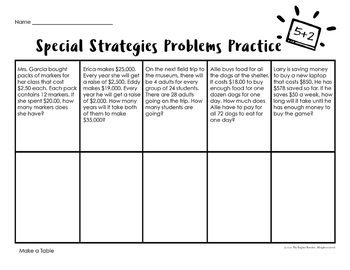 5th Grade Word Problems Special Strategies
