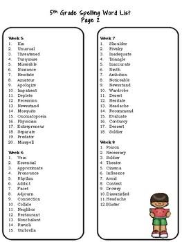 5th Grade Spelling List Freebie