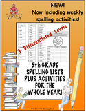 5th Grade Spelling Lists PLUS Activities for the Whole Yea