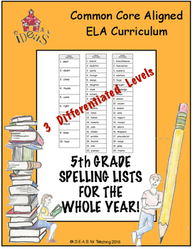 5th Grade Spelling Lists for the Whole Year! (Differentiated!)