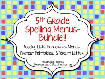 5th Grade Spelling Menus/Choice Boards BUNDLE!!!