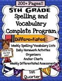 5th Grade Spelling and Vocabulary Common Core Complete Program
