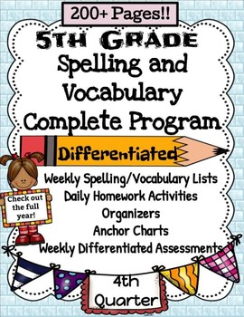5th Grade Spelling and Vocabulary Complete Program 4th Quarter