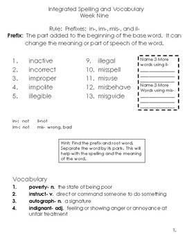 5th Grade Spelling and Vocabulary Complete Program Common Core 2nd Quarter