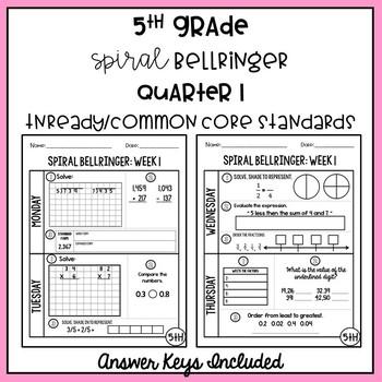 5th Grade Common Core Bellringer Spiral Review Q1