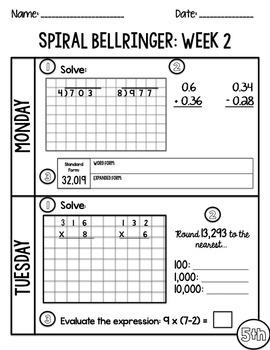 5th Grade TNReady/CCS Daily Spiral Bellringer Review Quarter 1