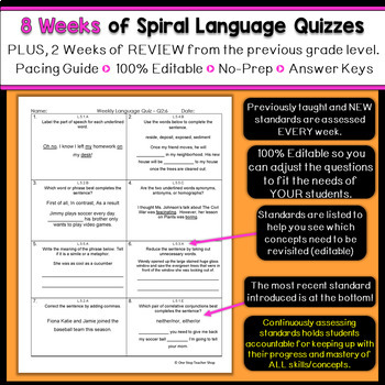5th Grade Language Spiral Review | 5th Grade Grammar Practice | 1st Quarter