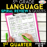 5th Grade Language Spiral Review | Grammar Review | 1st Quarter