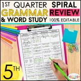 5th Grade Language Spiral Review | 5th Grade Grammar Review | 1st QUARTER