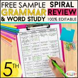 5th Grade Language Spiral Review   Homework, Morning Work, Grammar Review FREE