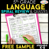 5th Grade Language Spiral Review | 2 Weeks FREE