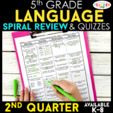 5th Grade Language Spiral Review | Grammar Review | 2nd Quarter