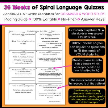 5th Grade Language Spiral Review | Language Arts Morning Work or Homework
