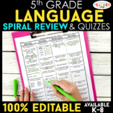 5th Grade Language Spiral Review | Grammar Morning Work or Homework ENTIRE YEAR