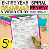 5th Grade Language Spiral Review & Quizzes | Grammar Homework or Morning Work