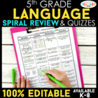 5th Grade Language Spiral Review |  Homework, Morning Work, Grammar Review