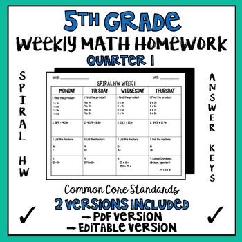 5th Grade Spiral Math Homework Quarter 1 EDITABLE
