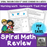 5th Grade Spiral Math Review - Digital OR Print- Distance