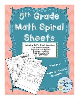 5th Grade Spiral Math Sheets