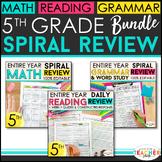 5th Grade Spiral Review & Quiz BUNDLE | Reading, Math, Lan