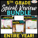 5th Grade Spiral Review & Quiz BUNDLE | Reading, Math, Lan