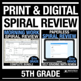 5th Grade Spiral Review PRINT & DIGITAL Bundle Distance Le