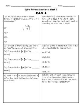 5th Grade Spiral Review, Quarter 3 Week 5