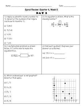5th Grade Spiral Review, Quarter 4 Week 5