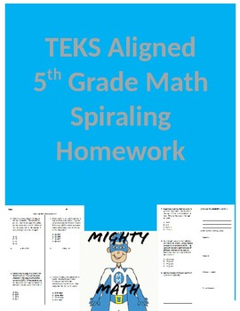 5th Grade Spiraling Math Homework TEKS Aligned- 1st Six Weeks