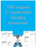 5th Grade Spiraling Math Homework TEKS Aligned- 1st Six Weeks