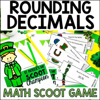 5th Grade St. Patrick's Day SCOOT - Round Decimals to the Thousandths