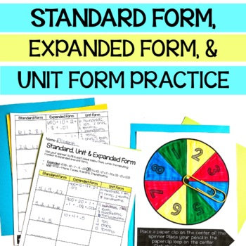 5th Grade Standard Form, Expanded Form and Unit Form Partner Game
