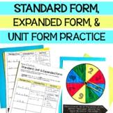 5th Grade Standard Form, Expanded Form and Unit Form Partner Game