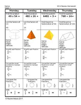 5th Grade Standardized Test Review-Spiral Homework (5 weeks) EDITABLE!