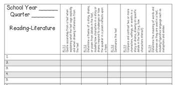 5th Grade Math and ELA Standards Gradebook