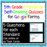 5th Grade Self Grading Quizzes or Exit Slips for Google Forms