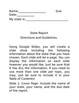 5th Grade State Report and Poster (Google Slides)