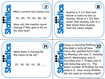 Statistics Task Cards - Math Problem of the Day ( 5th grade word problems )
