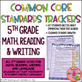 5th Grade Student Common Core Standards Trackers for Math, Reading & Writing
