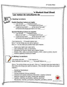 5th Grade Student Led Conferencing Self Checklist (Bilingual)