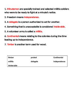 5th Grade Studies Weekly Vocabulary - Week 5
