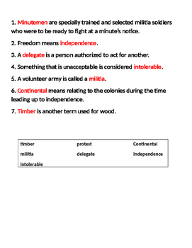 5th Grade Studies Weekly Vocabulary - Week 5