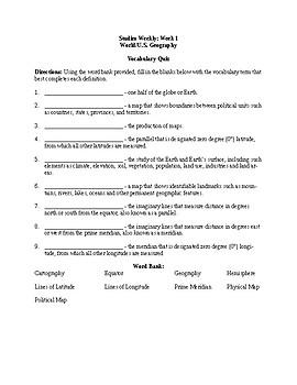 5th Grade Studies Weekly Week 1 Vocabulary Quiz